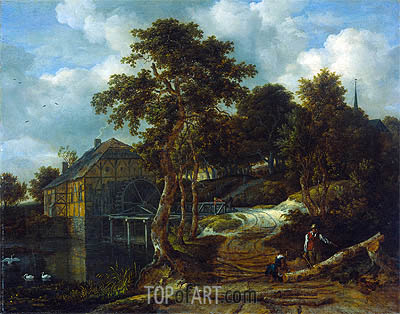 Landscape with Watermill, 1661 | Ruisdael| Gemälde Reproduktion