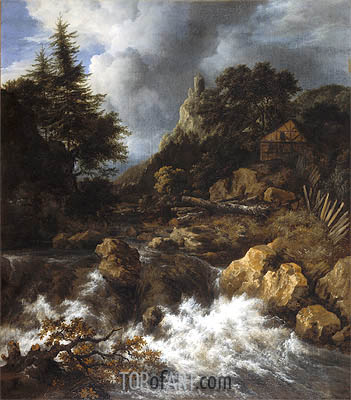 Waterfall with a Half-Timbered House and Castle, c.1665/70 | Ruisdael | Gemälde Reproduktion