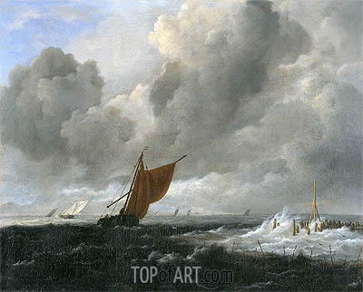 Stormy Sea with Sailing Vessels, c.1668 | Ruisdael| Gemälde Reproduktion