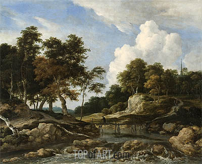 Ruisdael | A Wooded River Landscape with a Bridge, undated