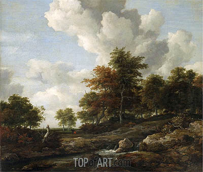 Wooded Landscape with a Rocky Stream, undated | Ruisdael| Gemälde Reproduktion