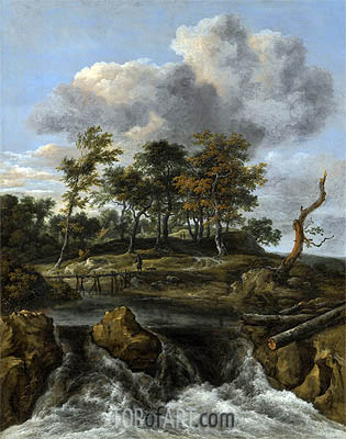 Ruisdael | A River Landscape with a Waterfall, undated