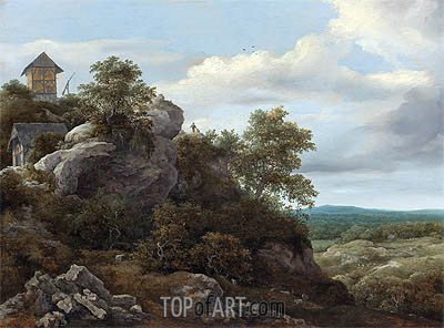 Landscape with Houses on a Rocky Hill, undated | Ruisdael | Painting Reproduction