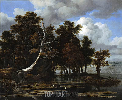 Oaks at a Lake with Water Lilies, undated | Ruisdael | Painting Reproduction