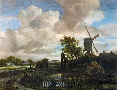 Evening Landscape, A Windmill by a Stream, c.1655/60 | Ruisdael| Gemälde Reproduktion