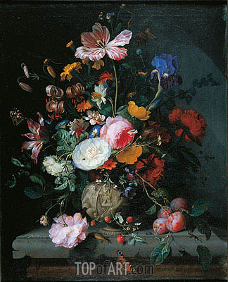 Bunch of Flowers in a Stone Vase, 1677 | Jacob van Walscapelle | Painting Reproduction