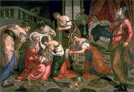 The Birth of John the Baptist, c.1550/59 von Tintoretto | Gemälde-Reproduktion