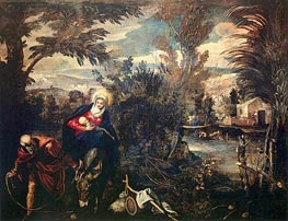 The Flight into Egypt, c.1582/87 von Tintoretto | Gemälde-Reproduktion