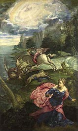 Saint George and the Dragon, c.1553 von Tintoretto | Gemälde-Reproduktion