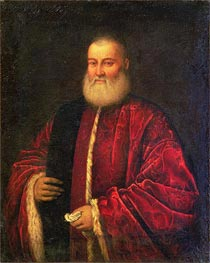 Portrait of an Old Man in Red Robes, Undated by Tintoretto | Painting Reproduction