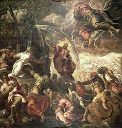 Moses Striking Water from the Rock, 1575 by Tintoretto | Painting Reproduction