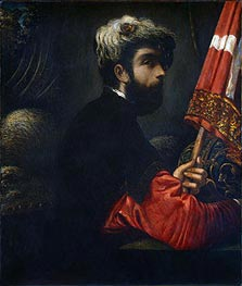 Portrait of a Man as Saint George, c.1540/50 by Tintoretto | Painting Reproduction