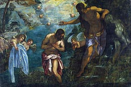 Baptism of Christ, c.1585 by Tintoretto | Painting Reproduction