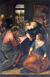 Christ in the House of Mary and Martha, c.1580 by Tintoretto | Painting Reproduction