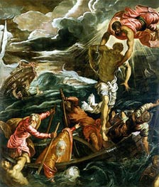 St. Mark Saving a Saracen from Shipwreck, c.1562/66 by Tintoretto | Painting Reproduction