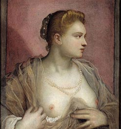 Lady Baring her Breast, c.1555 by Tintoretto | Painting Reproduction