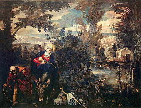 The Flight into Egypt, c.1582/87 | Tintoretto| Painting Reproduction