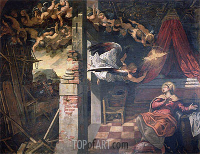 The Annunciation, c.1582/87 | Tintoretto | Painting Reproduction
