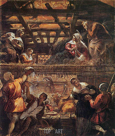 The Adoration of the Shepherds, c.1577/81 | Tintoretto | Painting Reproduction