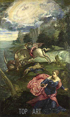 Saint George and the Dragon, c.1553 | Tintoretto| Painting Reproduction