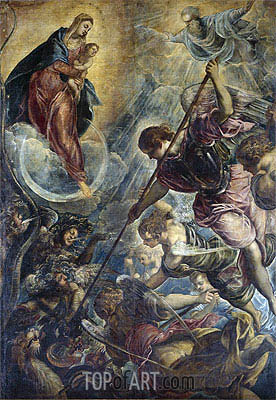 Archangel Michael Fights Satan, c.1590 | Tintoretto | Painting Reproduction