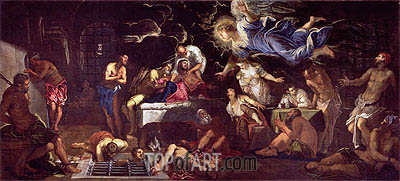 St. Roch Visited by an Angel in Prison, 1567 | Tintoretto| Painting Reproduction
