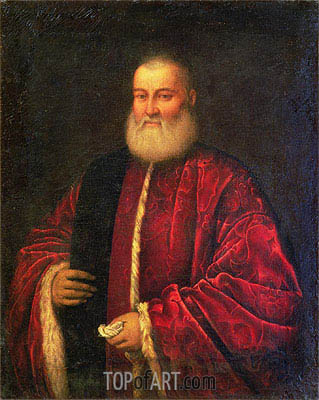 Portrait of an Old Man in Red Robes,  | Tintoretto| Gemälde Reproduktion
