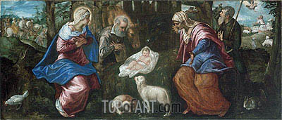 The Nativity, a.1580 | Tintoretto | Gemälde Reproduktion