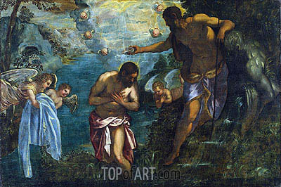 Baptism of Christ, c.1585 | Tintoretto | Painting Reproduction