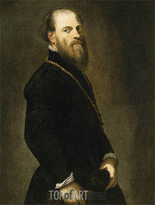 Gentleman with a Gold Chain, c.1555 | Tintoretto | Painting Reproduction