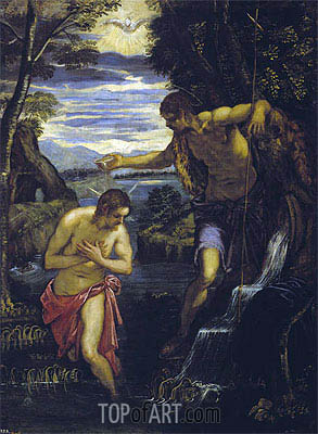 The Baptism of Christ, c.1585 | Tintoretto| Painting Reproduction