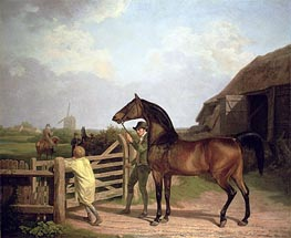 'Bay Ascham', a Stallion Led Through a Gate to a Mare | Jacques-Laurent Agasse | Painting Reproduction