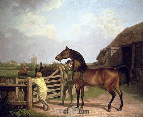 'Bay Ascham', a Stallion Led Through a Gate to a Mare, 1804 | Jacques-Laurent Agasse | Painting Reproduction