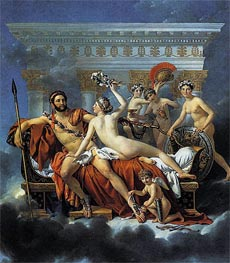 Mars Disarmed by Venus and the Three Graces, 1824 von Jacques-Louis David | Gemälde-Reproduktion