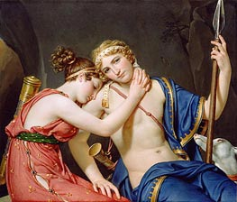 The Farewell of Telemachus and Eucharis, 1818 by Jacques-Louis David | Painting Reproduction