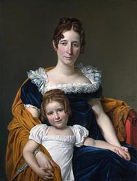 Portrait of the Comtesse Vilain XIIII and Her Daughter, 1816 by Jacques-Louis David | Painting Reproduction