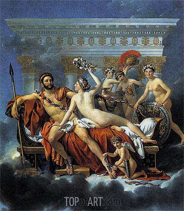 Jacques-Louis David | Mars Disarmed by Venus and the Three Graces, 1824