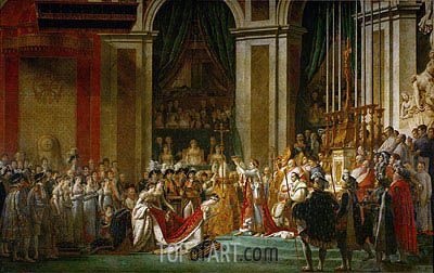 The Consecration of the Emperor Napoleon and the Coronation of the Empress Josephine by Pope Pius VII, 2nd December 1804, c.1806/07 | Jacques-Louis David| Painting Reproduction