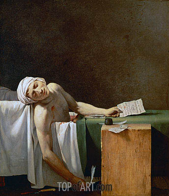 Assassination of Jean-Paul Marat in His Bath, 1793 | Jacques-Louis David| Gemälde Reproduktion