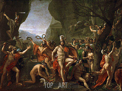 Leonidas at the Thermopylae, 1814 | Jacques-Louis David| Painting Reproduction