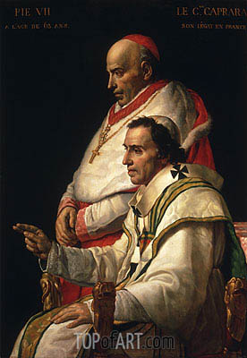 Jacques-Louis David | Portrait of Pope Pius VII and Cardinal Caprara, c.1805