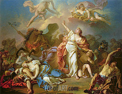 Apollo and Diana Attacking the Children of Niobe, undated | Jacques-Louis David| Painting Reproduction