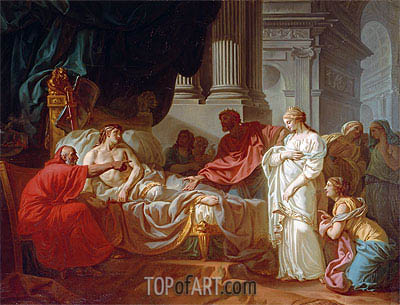 Antiochus and Stratonice, 1774 | Jacques-Louis David| Painting Reproduction
