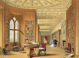 The Library, Windsor Castle, 1838 by James Baker Pyne | Painting Reproduction