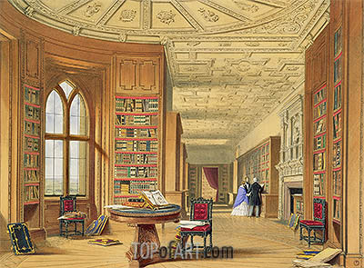 The Library, Windsor Castle, 1838 | James Baker Pyne| Painting Reproduction