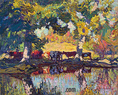 James Edward Hervey Macdonald | Cattle by the Creek, 1918