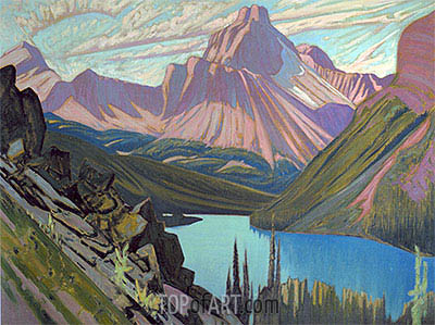 Lake O'Hara and Cathedral Mountain, Rockies, 1928 | James Edward Hervey Macdonald | Gemälde Reproduktion