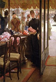 The Shop Girl (The Milliner's Shop), c.1883/85 by Joseph Tissot | Painting Reproduction