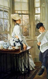 Reading the News, c.1874 by Joseph Tissot | Painting Reproduction