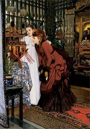 Young Women Looking at Japanese Objects, 1869 by Joseph Tissot | Painting Reproduction